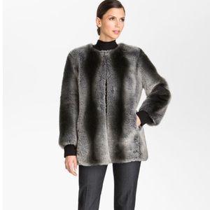 ST JOHN Faux Fur Gradient Grey Coat, Size 2